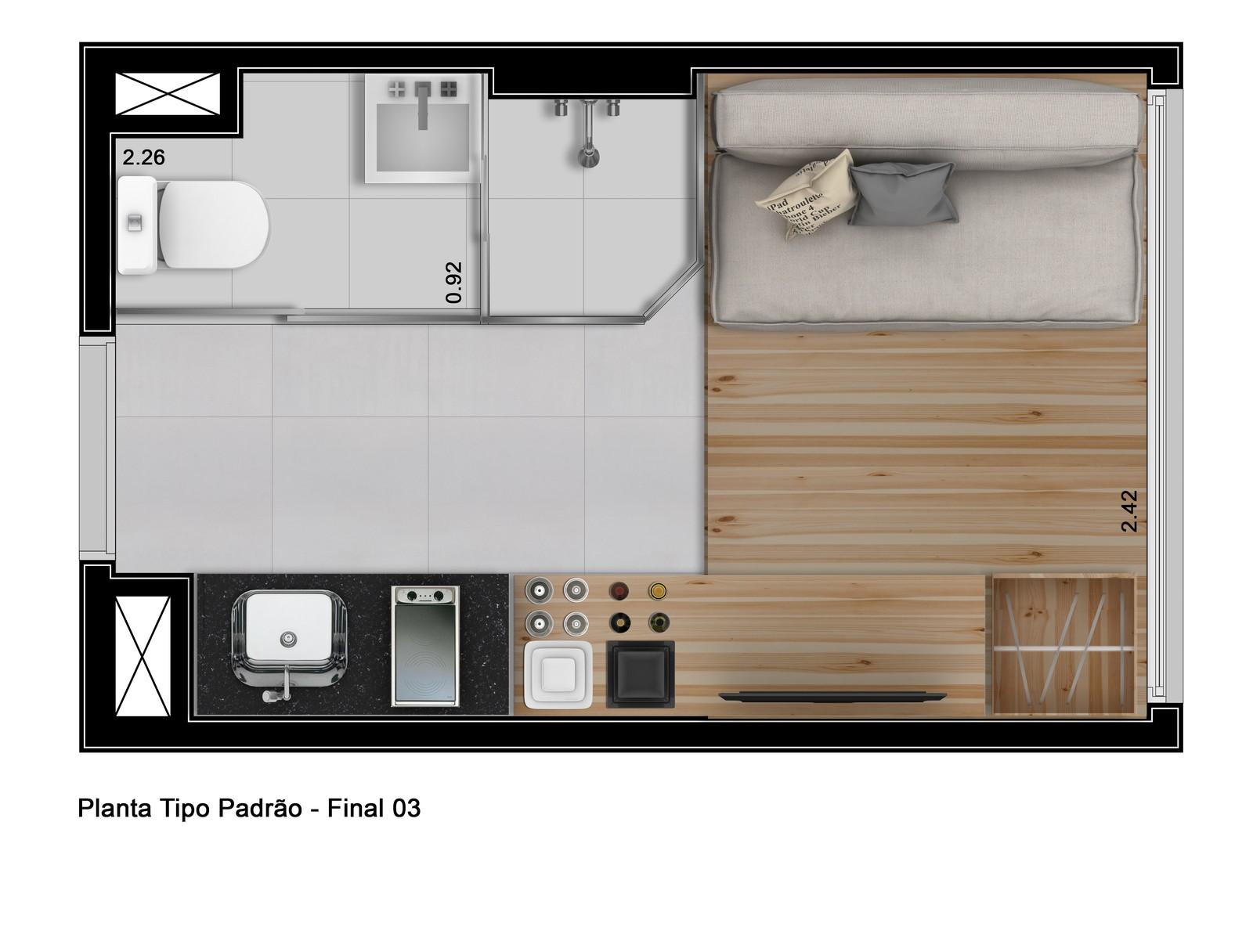 Planta de um apartamento compacto.