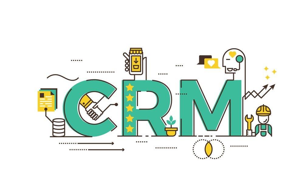 A imagem traz as letras CRM e símbolos relacionados a comunicação e atendimento.